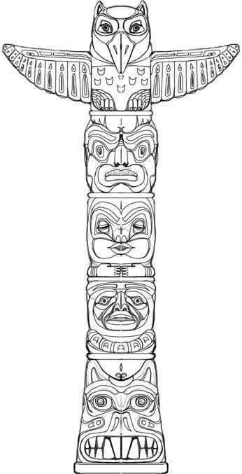 Symbol Totempfahl Indianer Tattoo Indianer