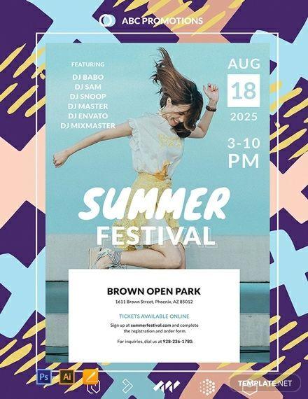 Free Vector Summer Festival Poster Template 3