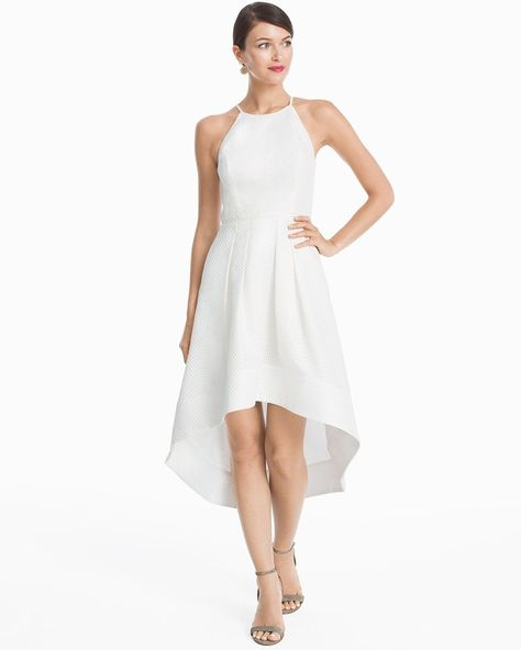 Women S Aidan Mattox White High Low Halter Fit And Flare