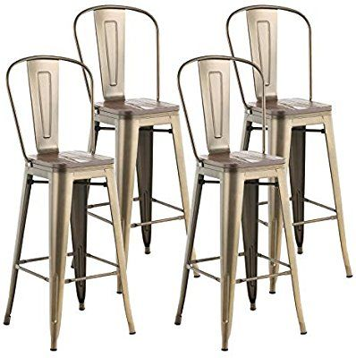 Amazon Com Mecor Metal Set Of 4 Bar Stools W Removable Backrest 30 Dining Counter Height Chairs Counter Height Chairs Bronze Furniture Metal Counter Stools