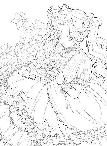 Amazon Co Jp 新しいかわいい花と女の子の塗り絵の秘密の庭スタイルの線画の本キルタイム絵画本 文房具 オフィス用品 2020 塗り絵 かわいい イラスト 手書き イラスト 塗り絵