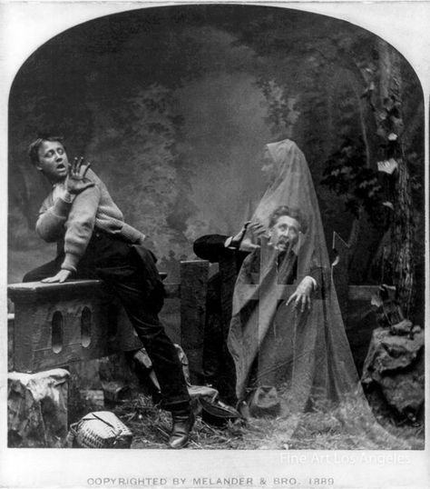 """Image description: This photo, circa shows a ghost scaring two men. From the to """"spirit photographs"""" were popular and easy to fake. Learn more about spirit photographs. Photo from the Library of Congress Prints and Photographs Division Ghost Photography, Spirit Photography, History Of Photography, Vintage Photography, Ghost Images, Ghost Photos, Old Photos, Vintage Photos, Vintage Halloween Photos"""