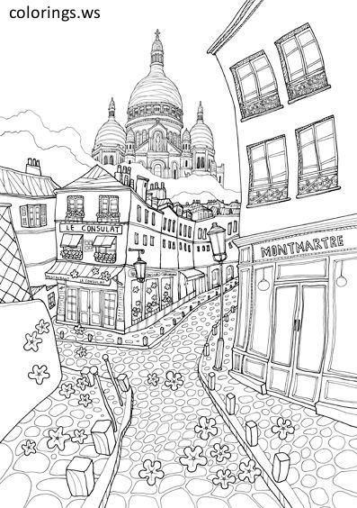 Adults Coloring Hard Corner Of The City Adults Coloring Pages