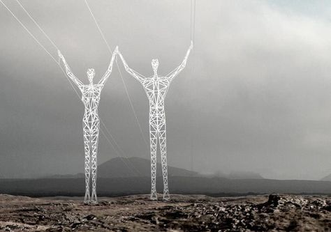 Human shape pylons installed in Iceland