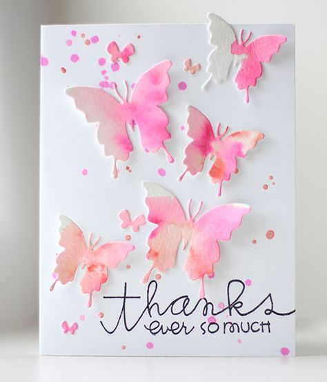 Follow the video tutorial for watorcoloring, and use your Butterfly Duet dies for this pretty-in-pink handmade thank you card.