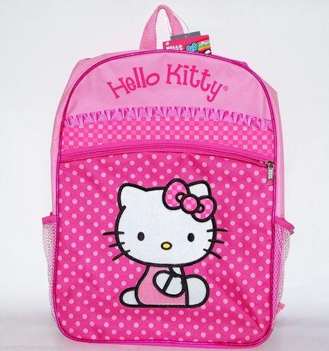 "Sanrio Hello Kitty Fullbody Heart 16/"" Canvas Black Grils Medium School Backpack"