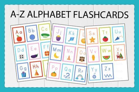 26 Alphabet English Flashcards, the Letters A4 size (1013690) | Educational | Design Bundles
