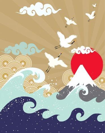 Japan Style Drawing Mountain Waves Sun Birds Icons Japan Illustration Drawings Japanese Art