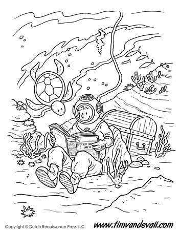 Underwater Reading Coloring Page For Kids Coloring Coloringpage