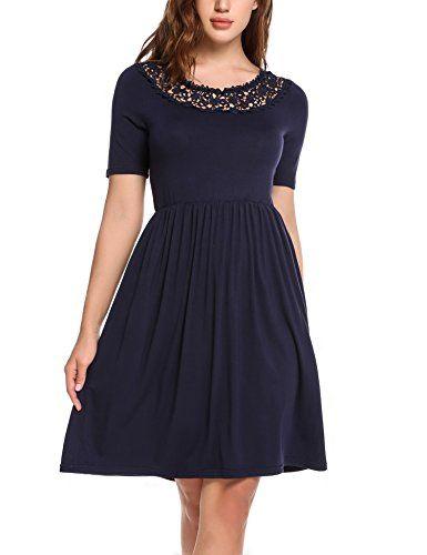Parabler Damen Elegant Kleid Mit Spitzen Sommerkleid Party Cocktailkleid Festliches Kleid A Linie Kurzarm Knielang B Elegante Kleider Sommerkleid Cocktailkleid