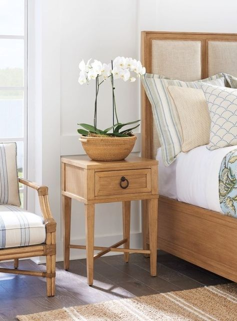 The Clay Night Table is the smallest nightstand in this collection. Use it to free up a little space in the master bedroom, or place it between two Twin sized beds in the guest bedroom. The design is a simplified take on New Traditional design. Choose from two breezy and casual finish colors.