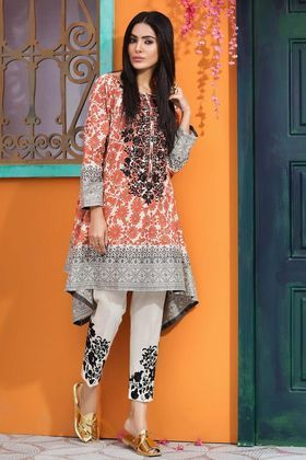 Khaadi 2 Piece Custom Stitched Embroidered Lawn Suit - Grey - N18115