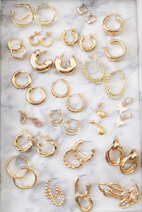 Conch Earring, Helix Earrings, Cartilage Earrings, Ear Piercings, Ring Earrings, Nail Jewelry, Cute Jewelry, Gold Jewelry, Jewelery