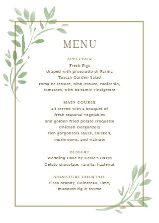 Fairytale Leaves Wedding Menus Wedding Menu Wedding Reception Food Wedding Food Menu