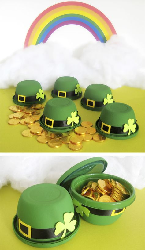 These St. Patrick's Day little leprechaun bowler hats are exactly that – bowls. With some dabs of green paint, ribbon, and paper for embellishing, plus a handful of sweet treats, you can turn snack-size plastic bowls into charming party favours this holiday