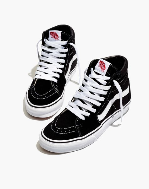Madewell Vans Unisex High-Top Sneakers in Suede and Canvas - Size High Top Vans Outfit, Black High Top Vans, Hi Top Vans, Black And White Vans, Nike High Tops, High Top Sneakers, Sk8 Hi Vans, Trendy Shoes, Cute Shoes