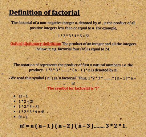 Definition Of Factorial Negative Integers Mathematics Math