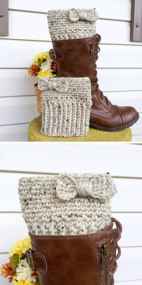 11 Stylish Boot Cuff Crochet Patterns to Add Some Feminine Flair to Your Winter Wardrobe! – Love Crochet 11 Stylish Boot Cuff Crochet Patterns to Add Some Feminine Flair to Your Winter Wardrobe! Guêtres Au Crochet, Crochet Boot Cuff Pattern, Mode Crochet, Crochet Boots, Crochet Motifs, Crochet Slippers, Crochet Clothes, Scarf Crochet, Knitted Boot Cuffs