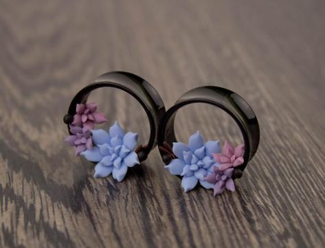 Cute ear tunnels Blue pink lavender succulent ear tunnels Stretched ears plugs and gauges Punk Jewelry, Ear Jewelry, Body Jewelry, Unique Ear Piercings, Multiple Ear Piercings, Belly Piercings, Tongue Piercings, Small Gauges, Gauges Plugs