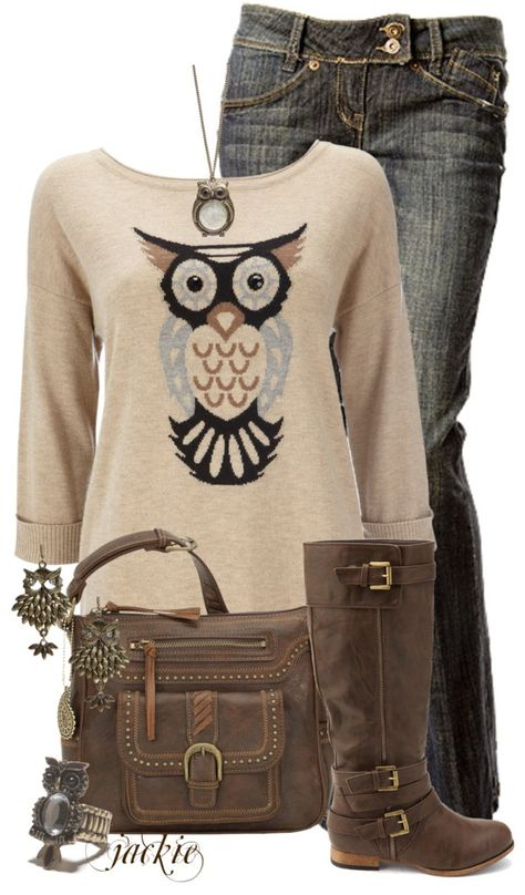 Owl outfit I so want this all of it except for the necklace and the earring.