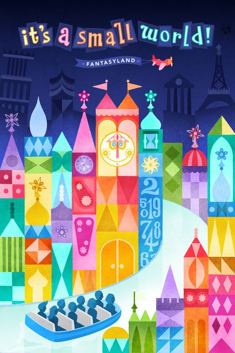 it's a small world posters Vintage Disney Posters, Retro Disney, Vintage Disneyland, Disney Love, Disney Magic, Small World Disneyland, Disney Disney, Disney Parks, Disney Rides