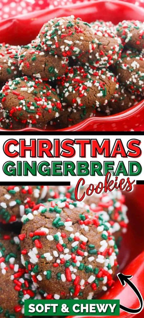 Soft gingerbread cookies rolled in Christmas sprinkles! You will love this colorful and delicious Christmas gingerbread cookie recipe. #ChristmasCookies #ChristmasRecipes #Gingerbread #ChristmasCookieRecipes #BestChristmasCookies