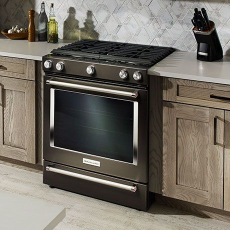 Kitchenaid 5 8 Cu Ft Slide In Gas Range With Self Cleaning Convection Oven In Stainless Steel Ksgg700ess The Home Depot In 2020 Black Stainless Steel Kitchen Kitchen Aid Black Stainless Appliances