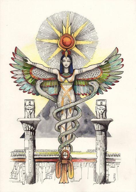 Image of Egyptian Goddess Egyptian Goddess Tattoo, Egyptian Tattoo Sleeve, Isis Goddess, Egyptian Mythology, Goddess Art, Egyptian Symbols, Egyptian Art, Isis Egyptian Goddess, Egyptian Symbol Tattoo