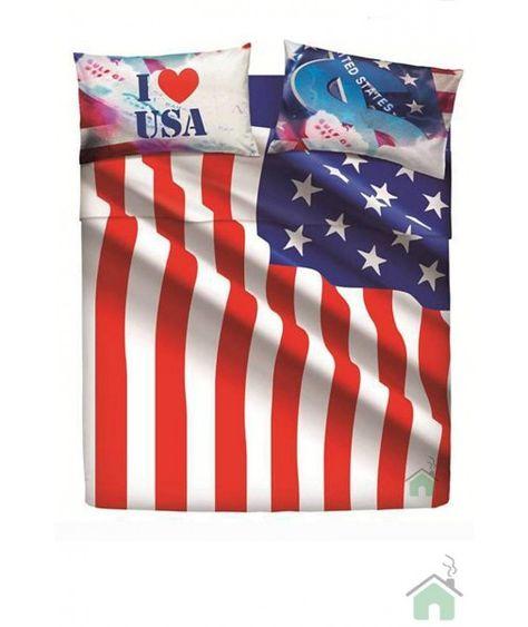 Lenzuola Matrimoniali Maxi Bassetti.Set Lenzuola 2 Piazze Matrimoniale Usa Flag By Bassetti