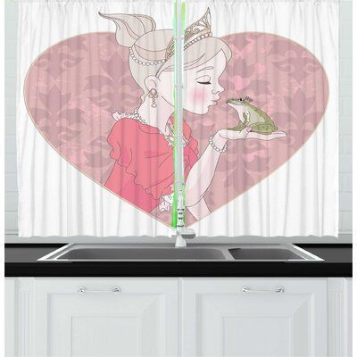 East Urban Home 2 Piece Frogs Fairytale Inspired Cartoon Of Princess Kissing Prince Amphibian Animal Kitchen Curtai In 2020 Amphibians Kitchen Curtain Sets Fairy Tales