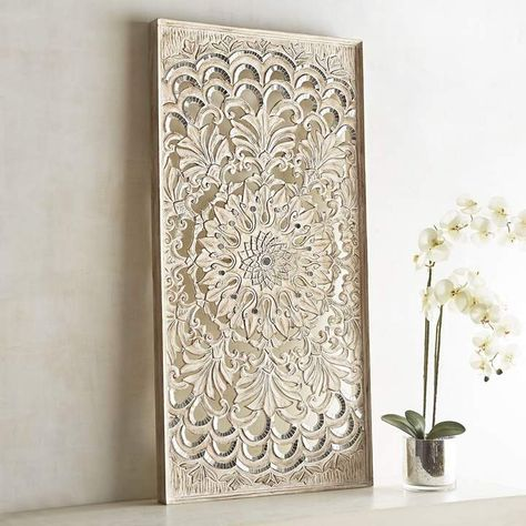 Pier 1 Imports Medallion Carved Whitewashed Panel