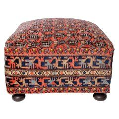 Oriental Rug Covered Ottoman Hock