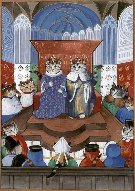 """Scene of the Chronicles of Froissart (Cats Medieval)"" par Susan Herbert"