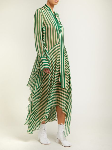 Dikon asymmetric striped silk-chiffon midi dress | Petar Petrov | MATCHESFASHION.COM
