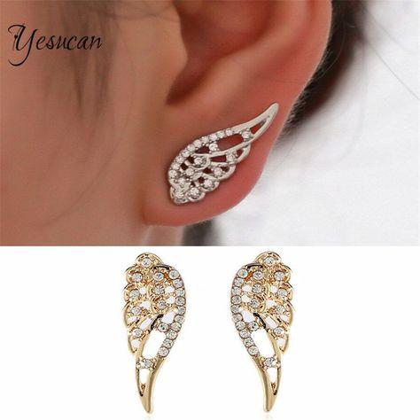 Yesucan Simple Angel Wing Pericing Studs Earring Statement Jewelry Bohemian Geometric Crystal Earring Bijoux Brincos Metal Color 01 -   - #angel #bijoux #bohemian #Brincos #Color #crystal #earring #geometric #jewelry #jewelrydesign #jewelryideas #metal #pericing #simple #statement #statementjewelry #studs #Wing #yesucan