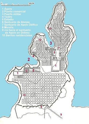 Plano Da Cidade Grega De Mileto Deseñada Por Hipodamo Ciudad Griega Ciudades Arquitectura Griega