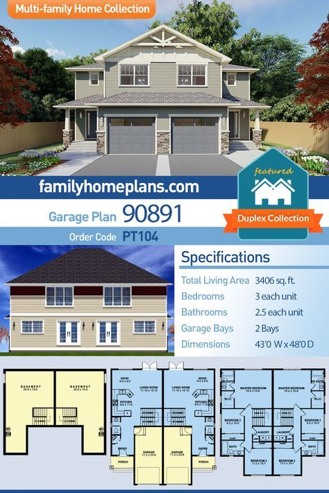 Craftsman Style Multi Family Plan 90891 With 6 Bed 6 Bath 2 Car Garage Craftsman Style House Plans Duplex House Plans Craftsman House Plans