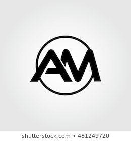Initial Letter Am Linked Circle Uppercase Monogram Logo Black