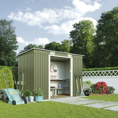6ft X 2 6 Pent Roof Log Tool Storage Shed Outside Garden Store Double Door 6x3 347 94
