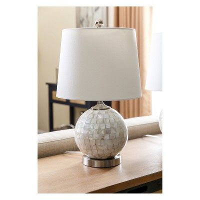 Set Of 2 Becca Mother Of Pearl Mini Round Table Lamps White Lamp