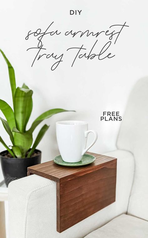 If you need a place to rest your drink but don't have a side table nearby, this quick and easy armrest tray table is a perfect fit for your sofa, couch, or chair. #traytable #sofa #drinkrest #coaster #scrapwood