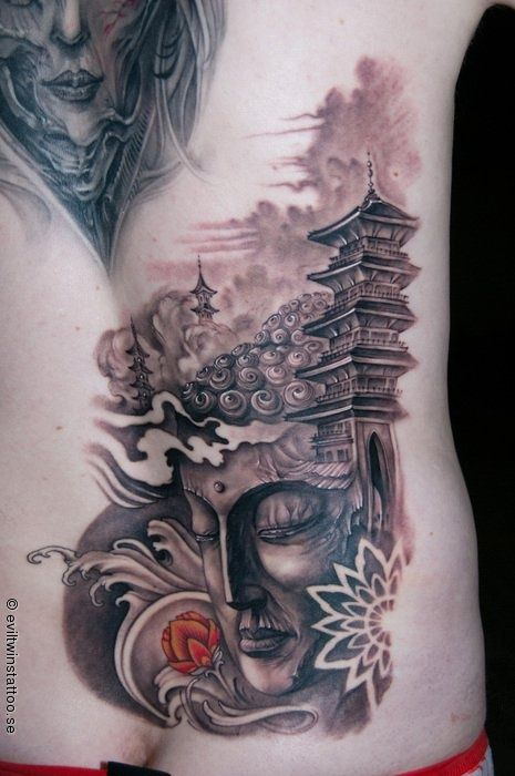 Charming Temple Tattoos Chinese Temple Tattoo Temple Buddhist Temple Tattoo Buddha Tattoo Design Temple Tattoo Buddha Tattoo