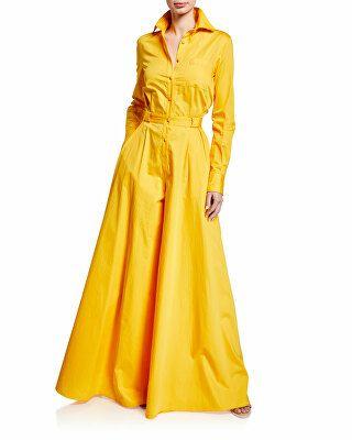 713d63a82dc7 Brandon Maxwell Designer Long-Sleeve Button-Front Wide Leg Jumpsuit ...