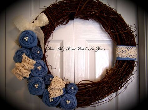 Wreath Vintage Denim Rose by Myfrontporchtoyours on Etsy, $40.00