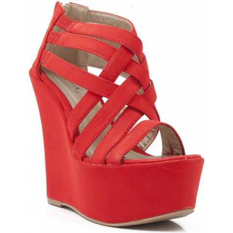 Strappy Red Open Toe Bridal Platform Wedge by Qupid (Model: Kunis-10)