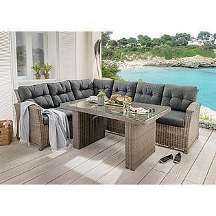 Destiny Gartenmobelset Palma 4 Tlg Eckbank Tisch 92x92 Cm Polyrattan Inkl Auflage Bestellen Baur Polyrattan Gartenmobel Lounge