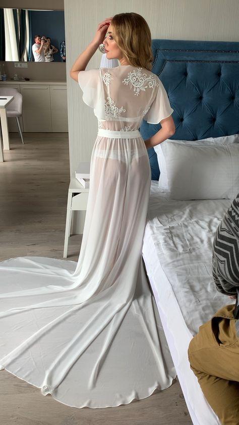 Bridal robe with train sheer robe long bride robe maxi robe ivory chiffon robe bridal robe boho chiffon floor - Her Crochet