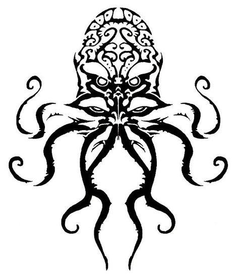 Tribal Black Cthulhu Tattoo Design | nice | Милые тату
