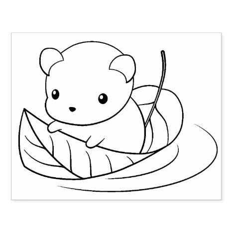 Cute Little Mouse Floating On A Leaf Coloring Page Rubber Stamp Zazzle Com Animal Coloring Pages Cute Coloring Pages Leaf Coloring Page