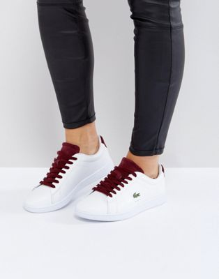 Lacoste Carnaby Evo 317 1 Trainers In White With Burgundy   411 ... ffa5e09d3f0